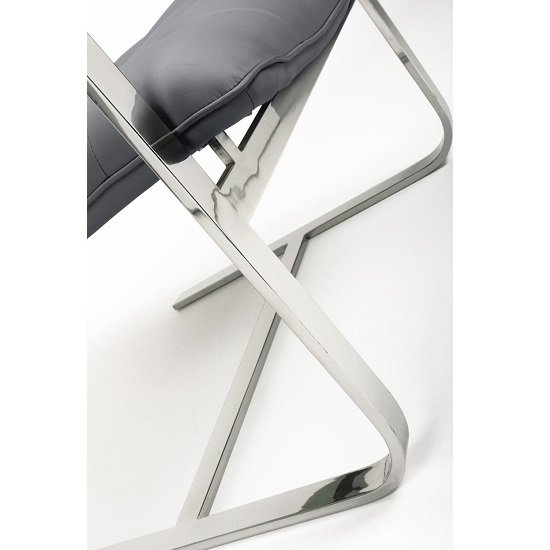 Harting Faux Leather Armchair In Grey With Chrome Frame_6