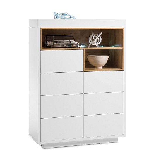 View Hartland highboard in matt white and oak with led lighting