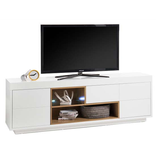 Hartland Lowboard TV Stand Wide In Matt White And Oak With LED