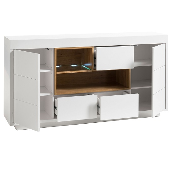 Hartland Sideboard In Matt White And Oak With LED Lighting_2