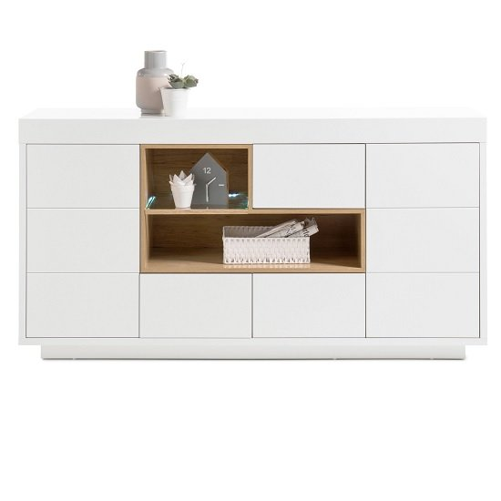 Hartland Sideboard Large In Matt White And Oak With LED Lighting
