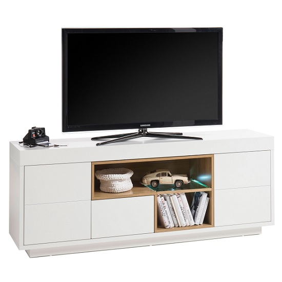Hartland Lowboard TV Stand In Matt White And Oak With LED