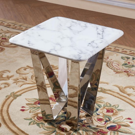 Harvell Marble Effect Lamp Table With Stainless Steel Base_1