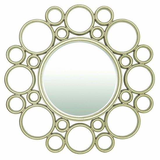 Harvest Wall Mirror Round In Light Champagne Leaf
