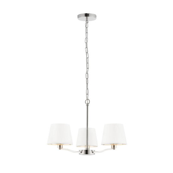 View Harvey wall hung 3 pendant light in bright nickel