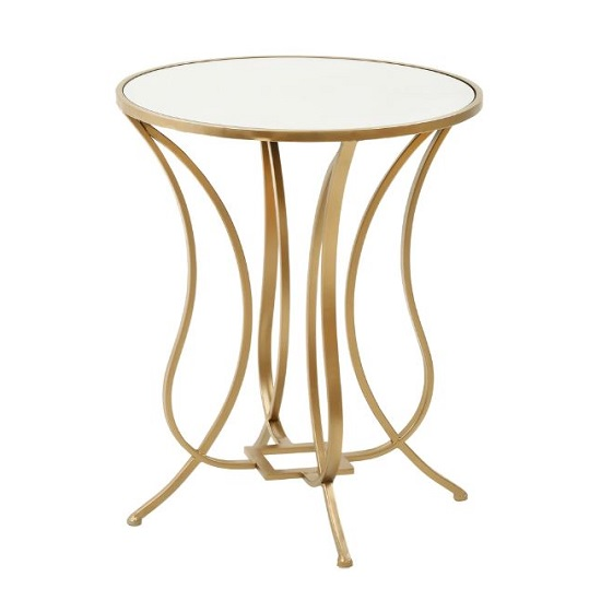 Hassa Lamp Table In Antique Gold Finish With Mirror Top_1