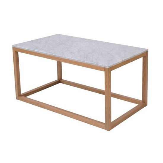 Hasting White Marble Coffee End Table With Oak Frame
