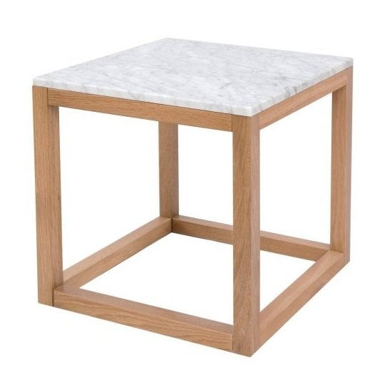 Hasting White Marble Top End Table With Oak Frame