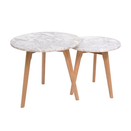 Hasting White Marble Two Nest Of Tables With Oak Frame