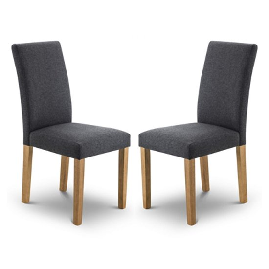Hastings Slate Linen Fabric Dining Chair In Pair
