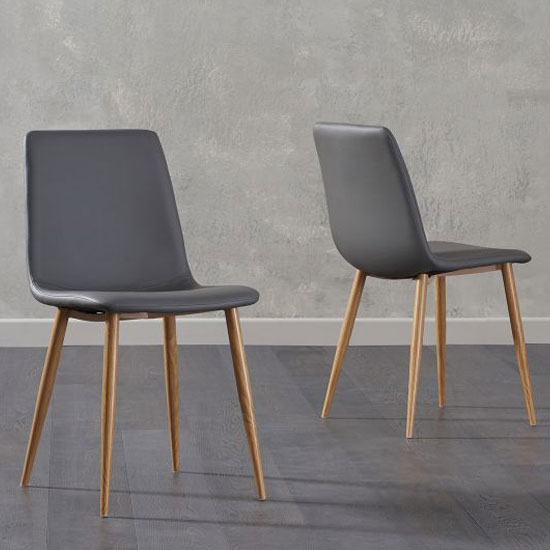 Hatfield Grey Faux Leather Dining Chairs In A Pair