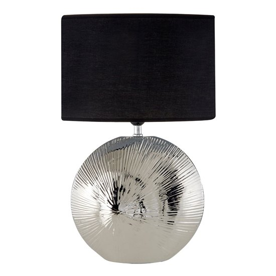 Hattoie Black Fabric Shade Table Lamp With Chrome Base