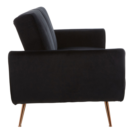 Eltanin Black Velvet Sofa Bed With Metallic Gold Legs   _4