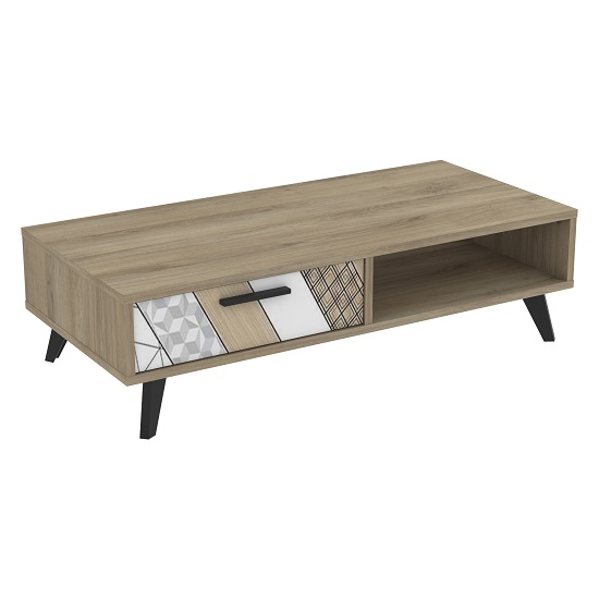 Hatton Wooden Coffee Table In Kronberg Oak With 1 Drawer