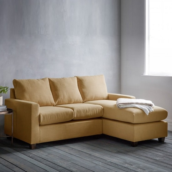 Hatton Left Hand Corner Sofa In Field Ochre With Wooden Legs