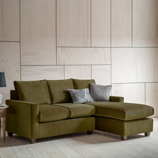 Hatton Left Hand Corner Sofa In Brussels Olive With Wooden Legs
