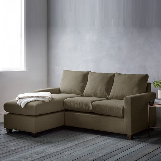 Hatton Right Hand Corner Sofa In Field Army With Wooden Legs