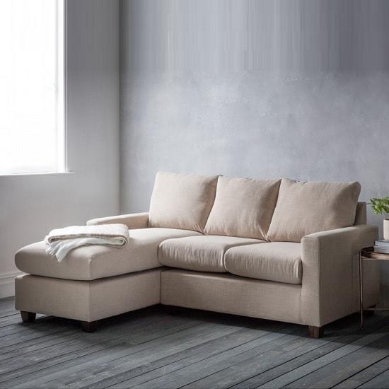 Hatton Right Hand Corner Sofa In Field Beige With Wooden Legs