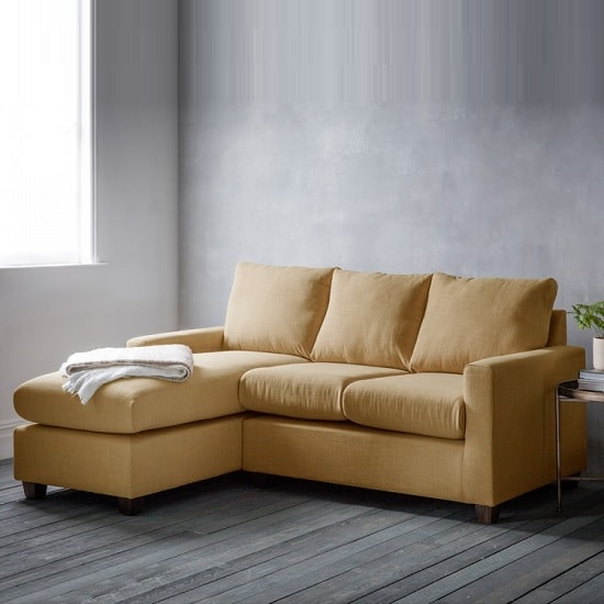 Hatton Right Hand Corner Sofa In Field Ochre With Wooden Legs