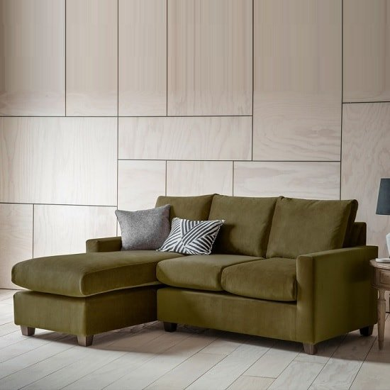 Hatton Right Hand Corner Sofa In Brussels Olive And Wooden Legs