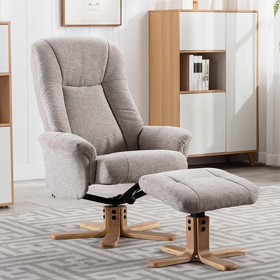 Hatton Fabric Swivel Recliner Chair And Footstool In Sand