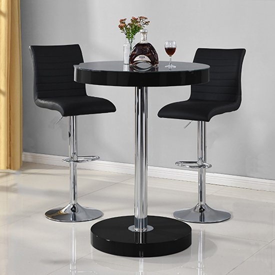Havana Bar Table In Black With 2 Ripple Black Bar Stools