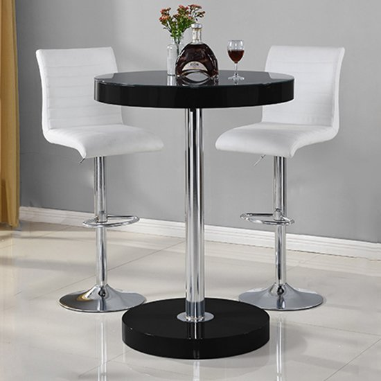 View Havana bar table in black with 2 ripple white bar stools