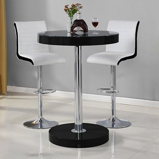 View Havana bar table in black with 2 ritz white and black bar stools