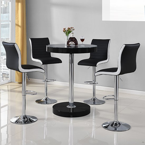 View Havana bar table in black with 4 ritz black and white bar stools