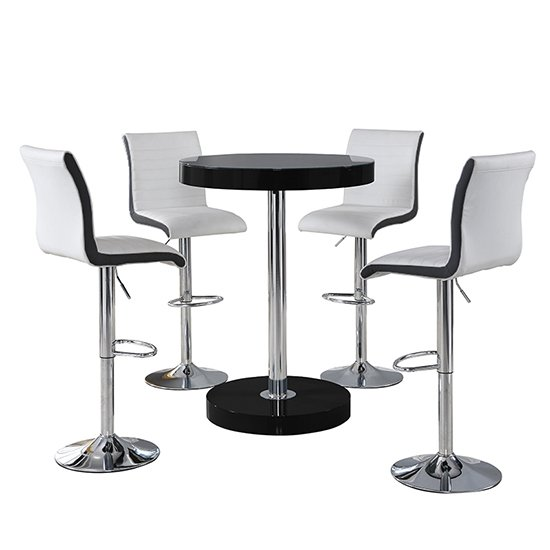 Havana Bar Table In Black With 4 Ritz White And Black Bar Stools_2