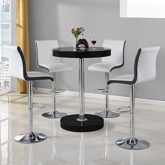 View Havana bar table in black with 4 ritz white and black bar stools