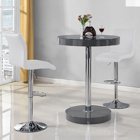 Havana Bar Table In Grey With 2 Ripple White Bar Stools_2
