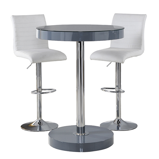 Havana Bar Table In Grey With 2 Ripple White Bar Stools_3