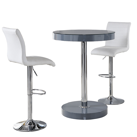 Havana Bar Table In Grey With 2 Ripple White Bar Stools_4
