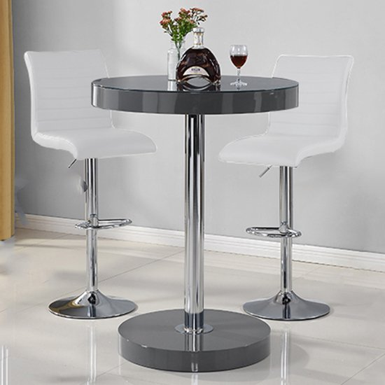 Havana Bar Table In Grey With 2 Ripple White Bar Stools