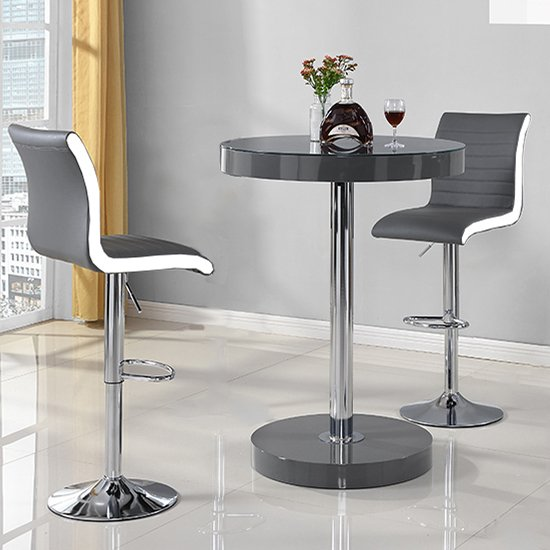 Havana Bar Table In Grey With 2 Ritz Grey And White Bar Stools_2