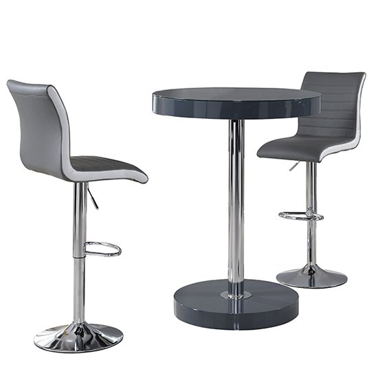Havana Bar Table In Grey With 2 Ritz Grey And White Bar Stools_3