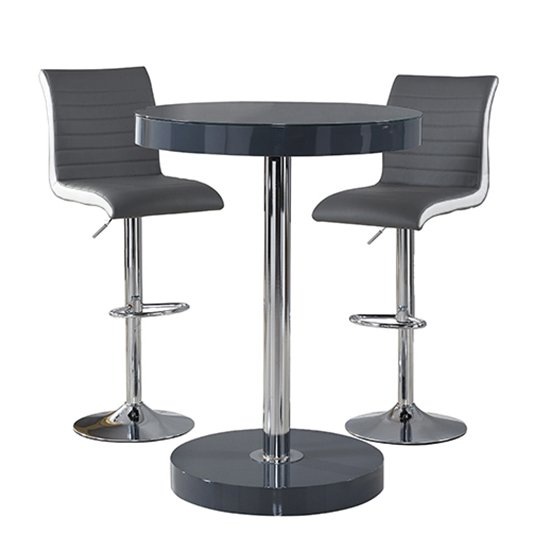 Havana Bar Table In Grey With 2 Ritz Grey And White Bar Stools_4
