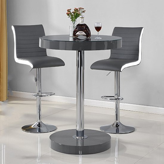 View Havana bar table in grey with 2 ritz grey and white bar stools