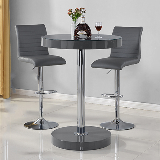 Havana Bar Table In Grey With 2 Ripple Grey Bar Stools