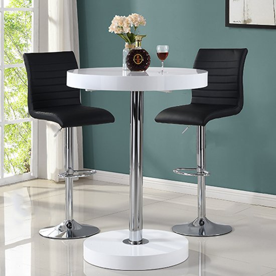 View Havana bar table in white with 2 ripple black bar stools