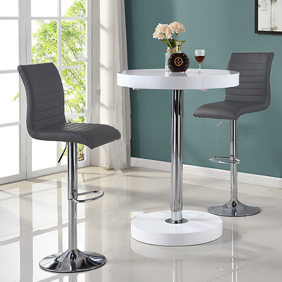 Havana Bar Table In White With 2 Ripple Grey Bar Stools_2