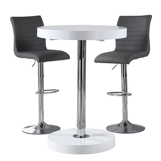 Havana Bar Table In White With 2 Ripple Grey Bar Stools_3