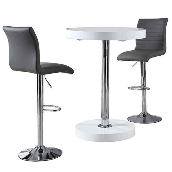 Havana Bar Table In White With 2 Ripple Grey Bar Stools_4