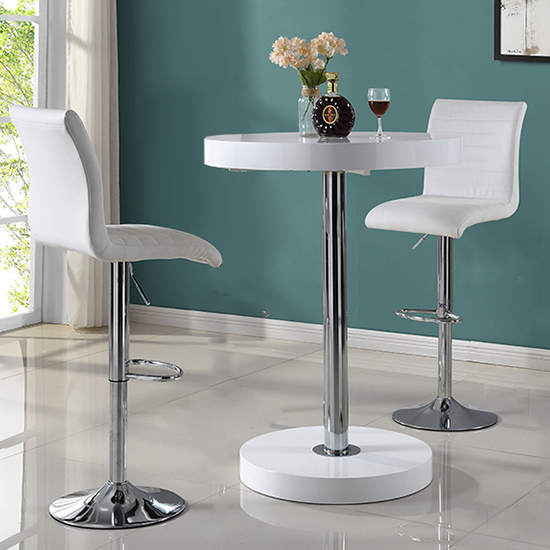 Havana Bar Table In White With 2 Ripple White Bar Stools_2