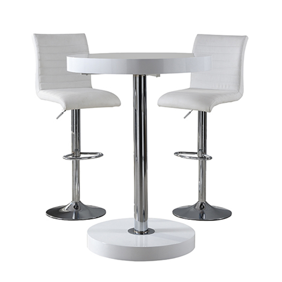 Havana Bar Table In White With 2 Ripple White Bar Stools_3