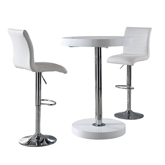 Havana Bar Table In White With 2 Ripple White Bar Stools_4