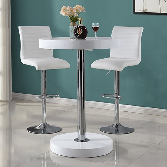 Havana Bar Table In White With 2 Ripple White Bar Stools_1