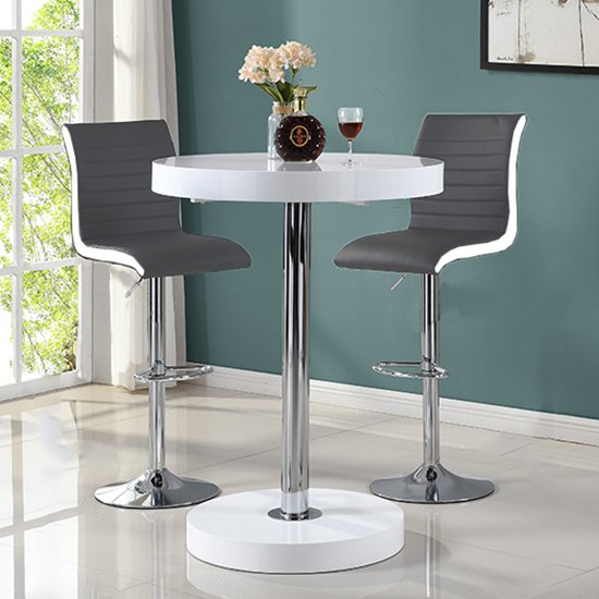 View Havana bar table in white with 2 ritz grey and white bar stools