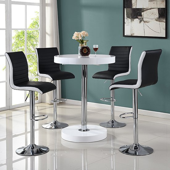 Havana Bar Table In White With 4 Ritz Black And White Bar Stools